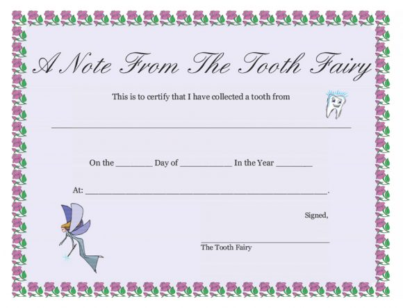 graphic relating to Tooth Fairy Stationary titled 37 Teeth Fairy Certificates Letter Templates - Printable