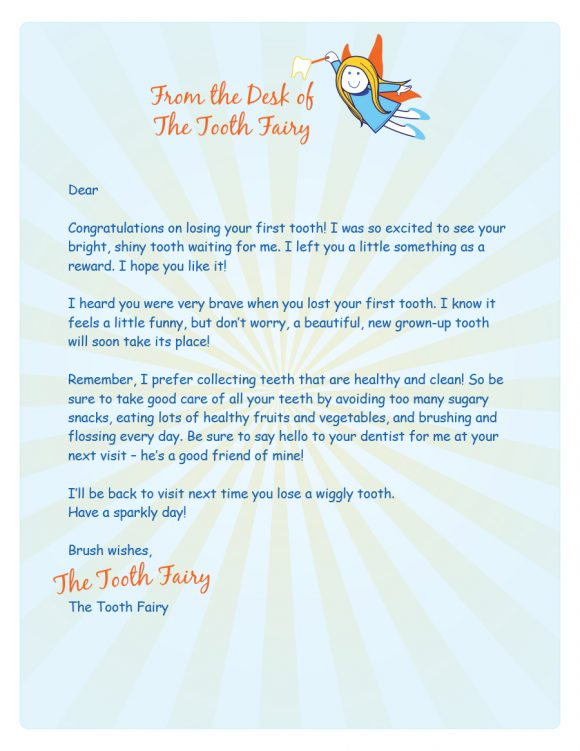 graphic about Printable Tooth Fairy Letter identify 37 Teeth Fairy Certificates Letter Templates - Printable