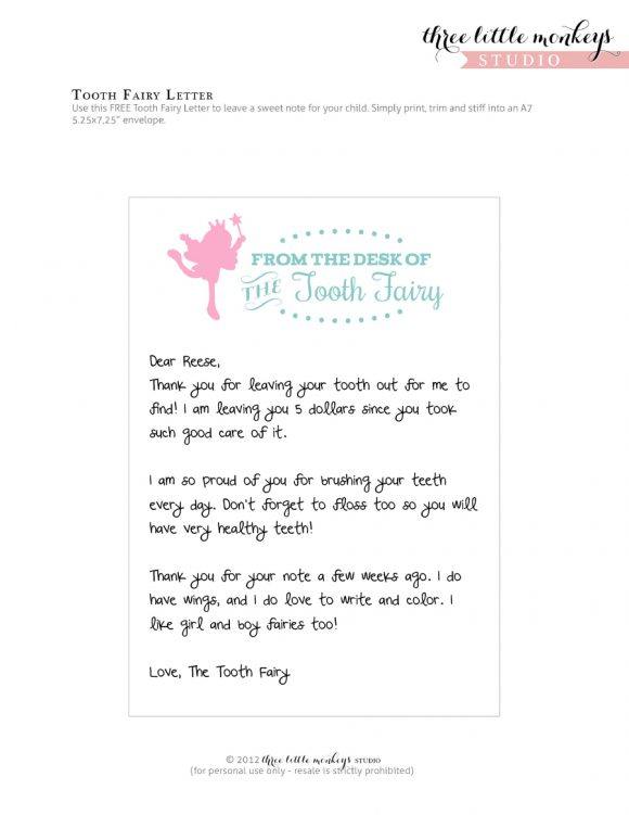 photograph relating to Free Printable Tooth Fairy Letter and Envelope named 37 Teeth Fairy Certificates Letter Templates - Printable