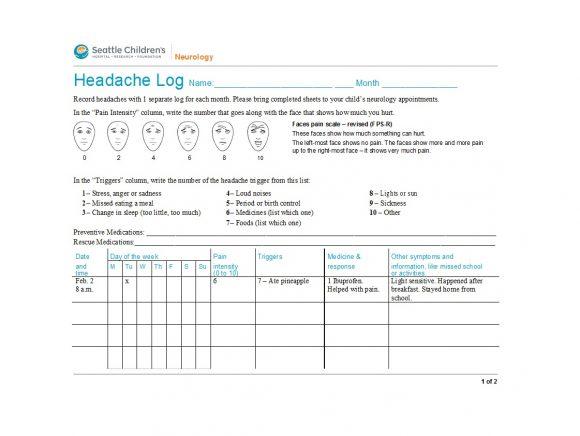 headache diary 07