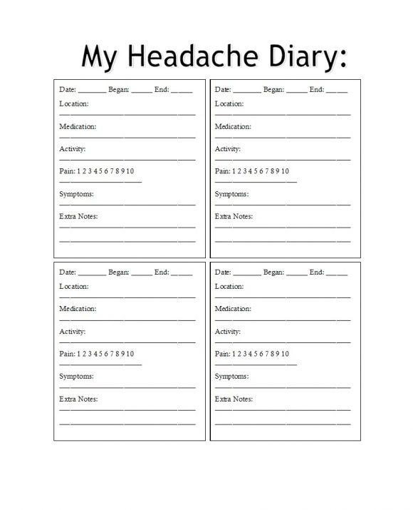headache diary 10