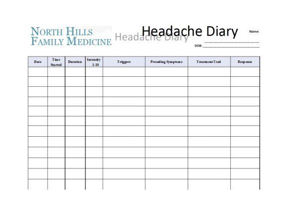 headache diary 50