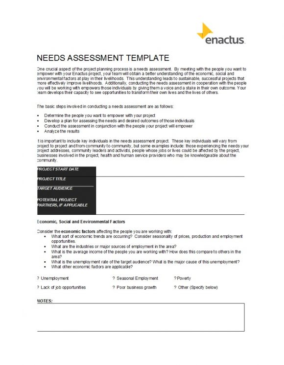 needs assessment template 19