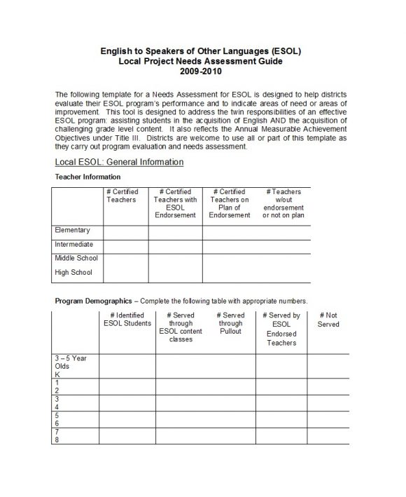 needs assessment template 28