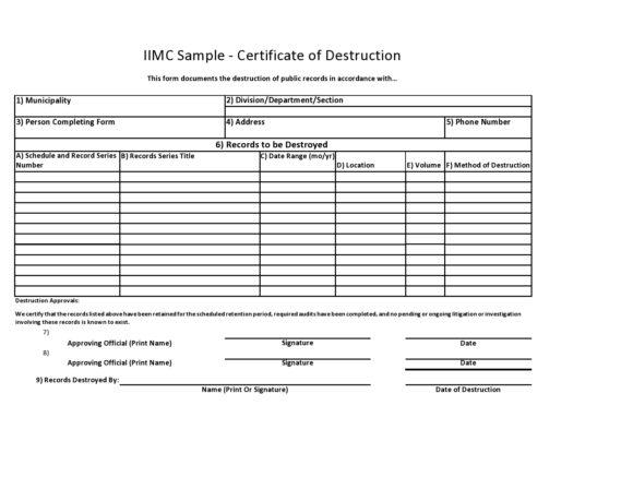 certificate of destruction 10