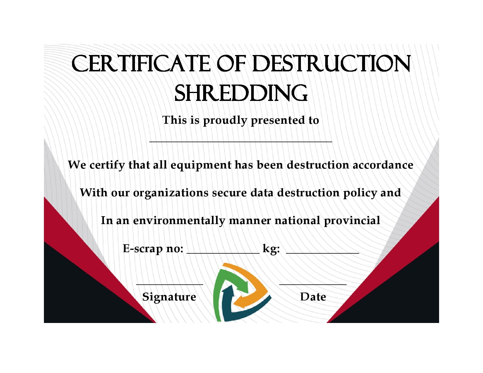 21 Useful Certificates Of Destruction (& Examples Intended For Certificate Of Disposal Template