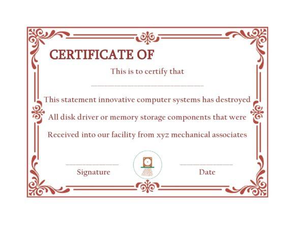 certificate of destruction 13