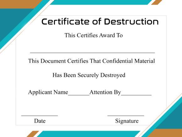 certificate of destruction 16