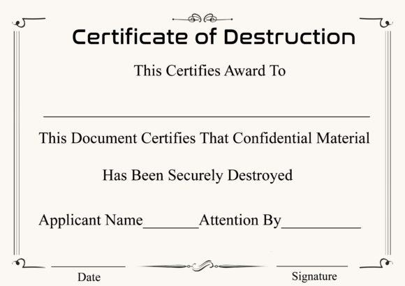 certificate of destruction 17