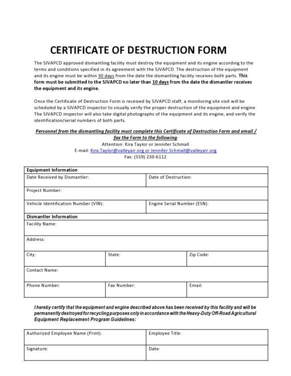 certificate of destruction 19