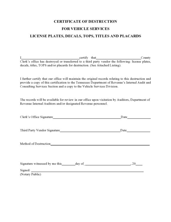 certificate of destruction 20