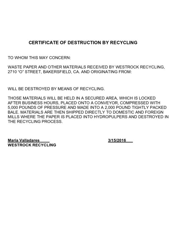 certificate of destruction 37