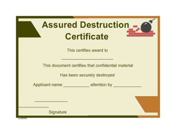 certificate of destruction 39