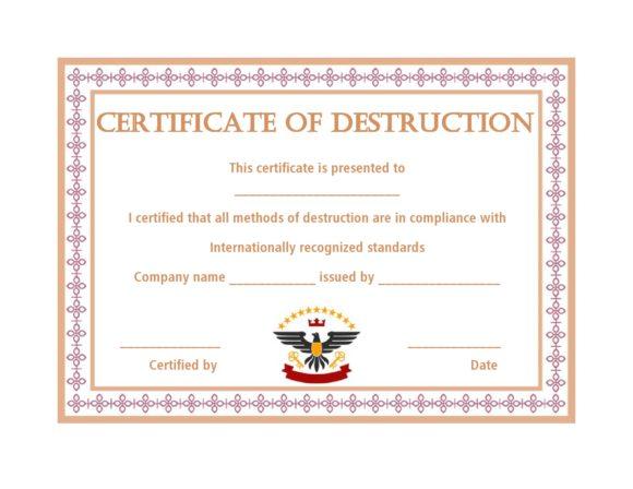 certificate of destruction 40