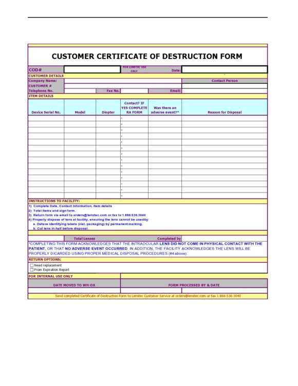 certificate of destruction 46