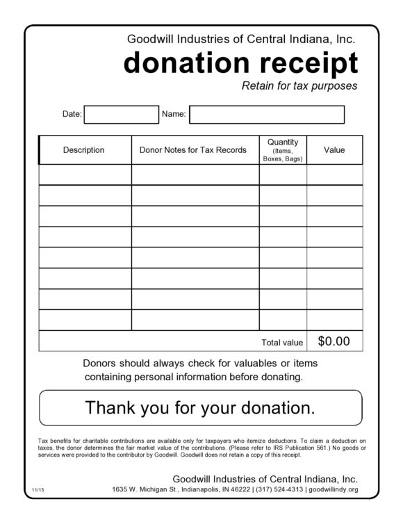 donation receipt template 18
