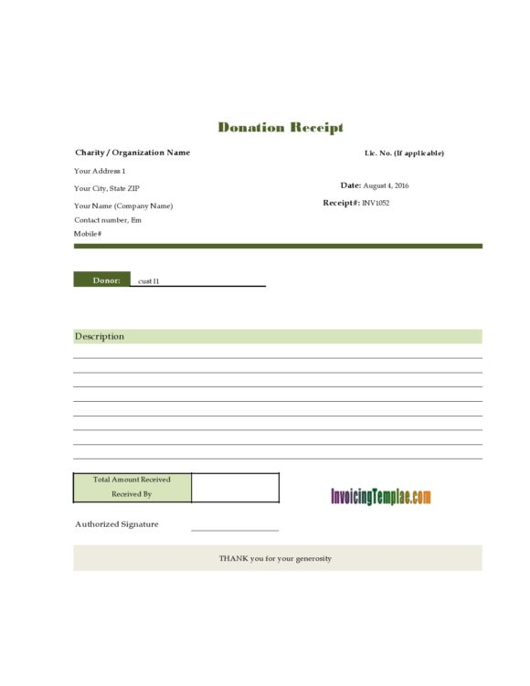 30 Non Profit Donation Receipt Templates Pdf Word Printable Templates