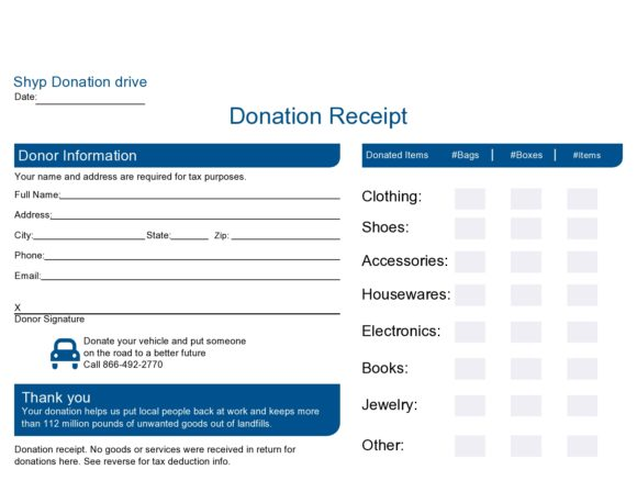 donation receipt template 22