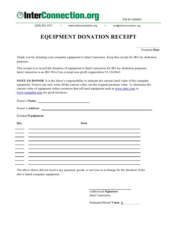 donation receipt template 25