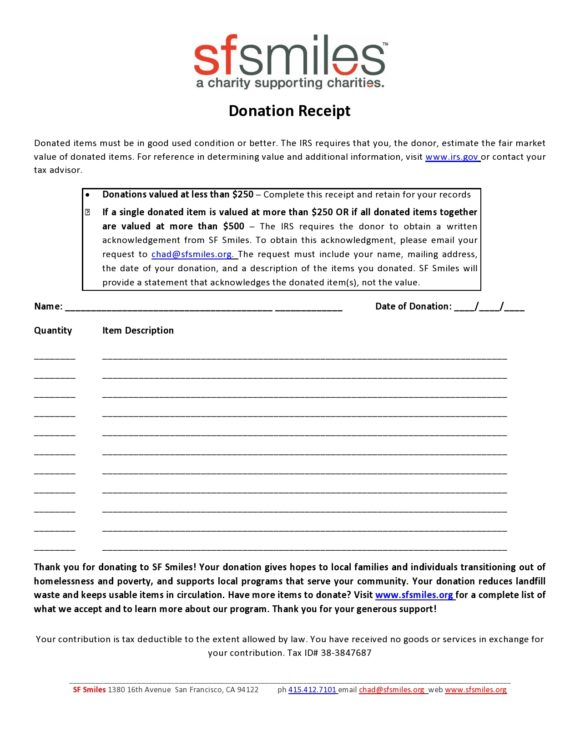 donation receipt template 29