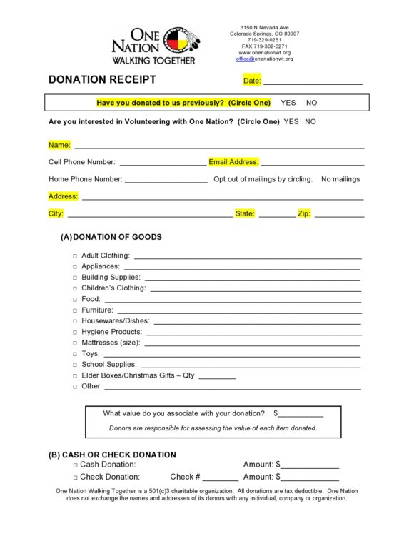 donation receipt template 30