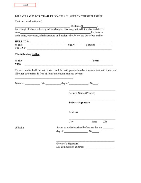 Bill Of Sale Word Template Free from printabletemplates.com
