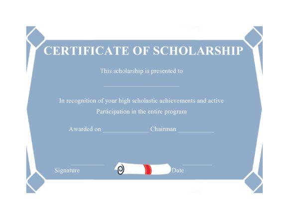scholarship certificate 12