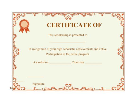 scholarship certificate 13