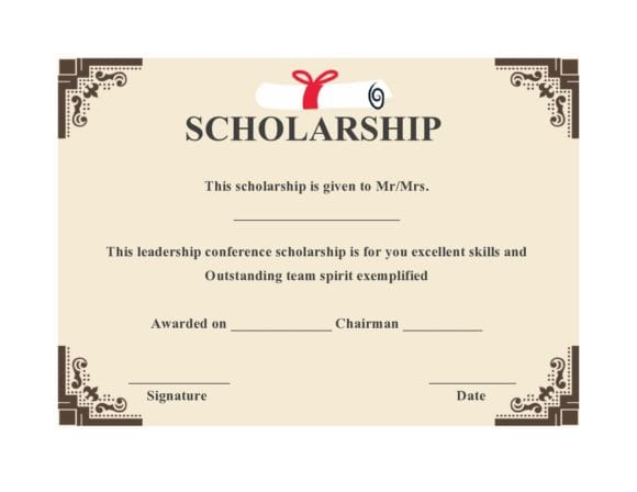 scholarship certificate 18