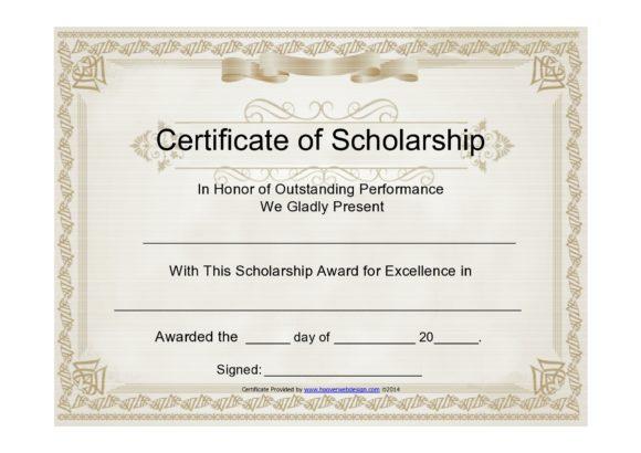 scholarship certificate 26