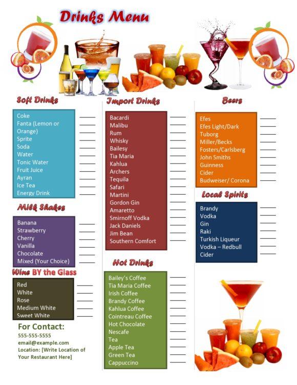 drink menu template 02