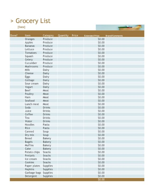grocery list template 14
