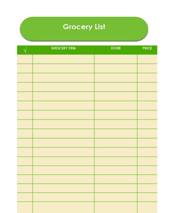 grocery list template 15