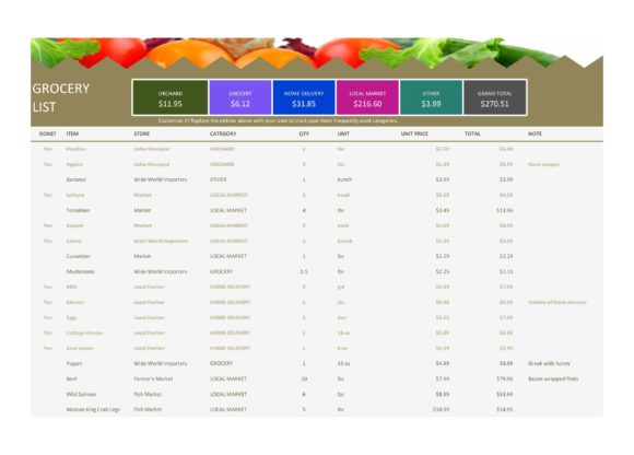 grocery list template 21