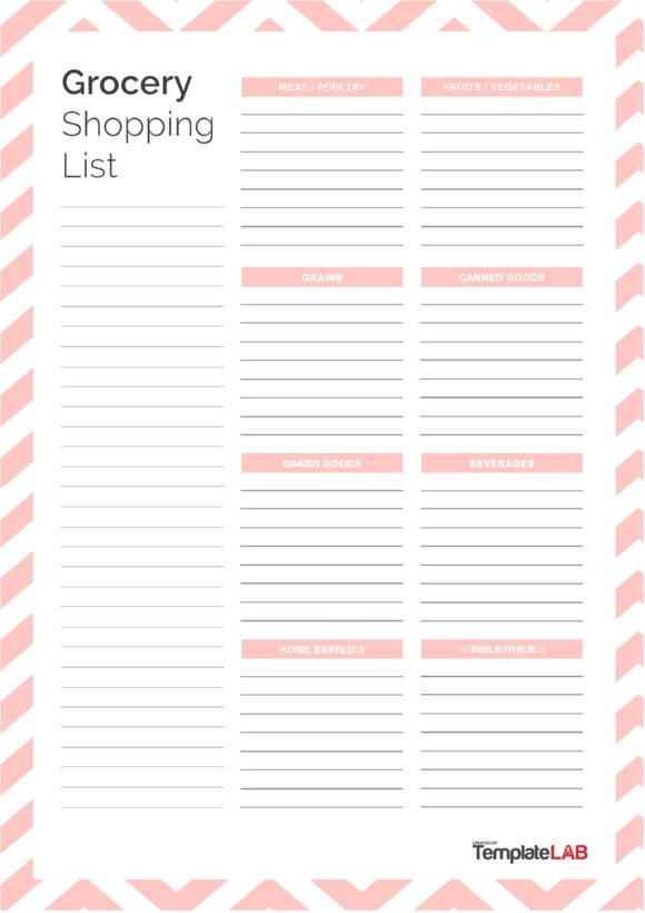 grocery list template 28