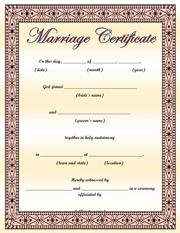 marriage certificate template 06