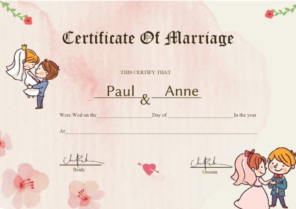 marriage certificate template 09