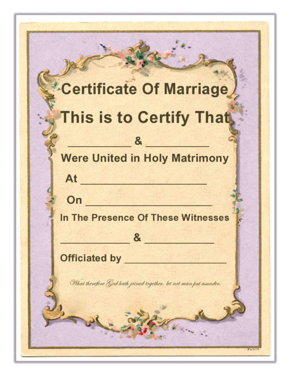 marriage certificate template 17