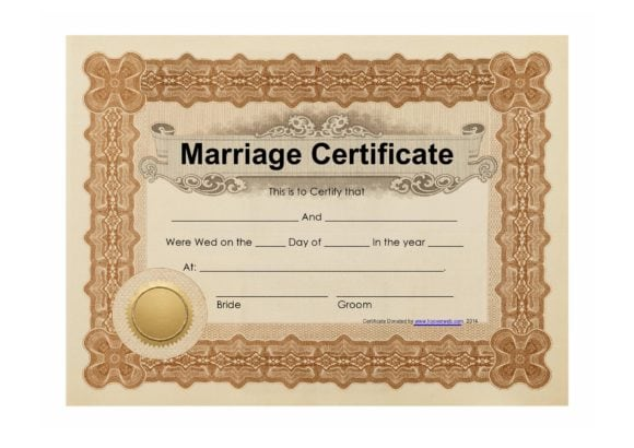 marriage certificate template 25