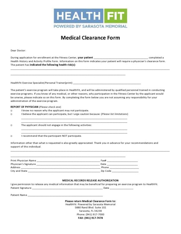medical clearance form 17