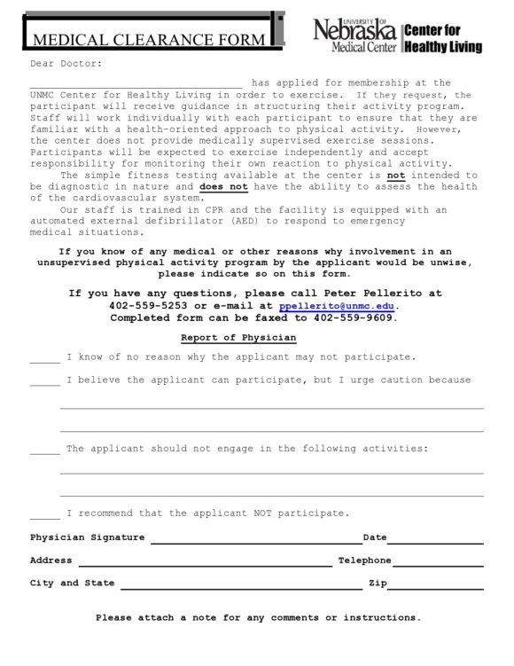 medical clearance form 18