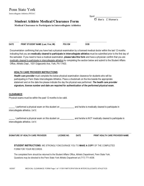 medical clearance form 19
