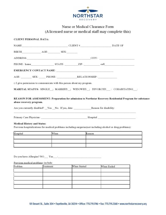 medical clearance form 25