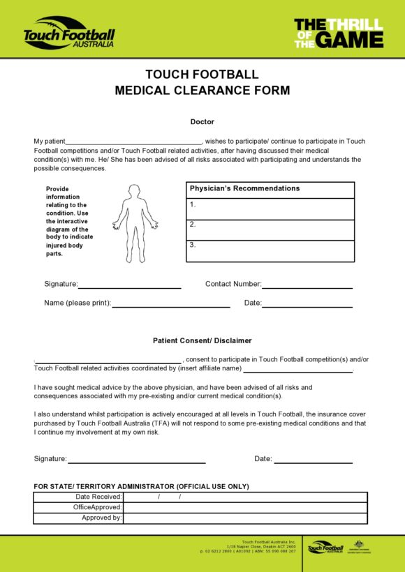 medical clearance form 29