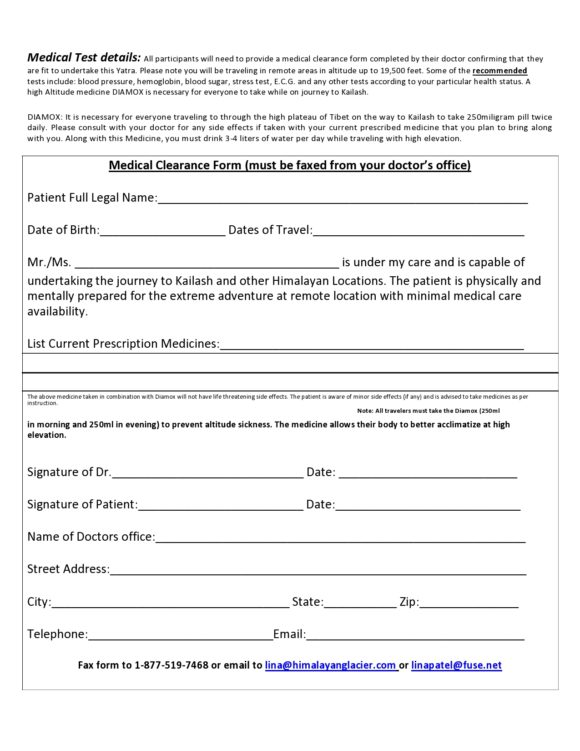 medical clearance form 30