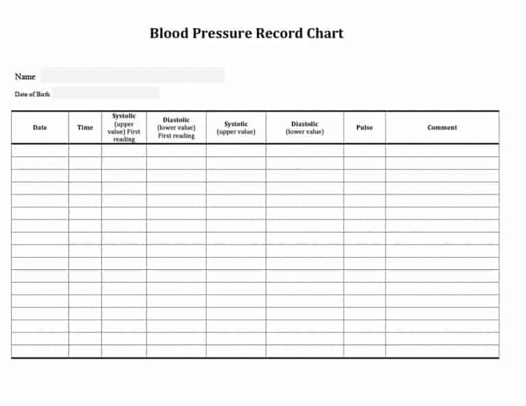 Daily Blood Pressure Log Templates Excel Word Pdf