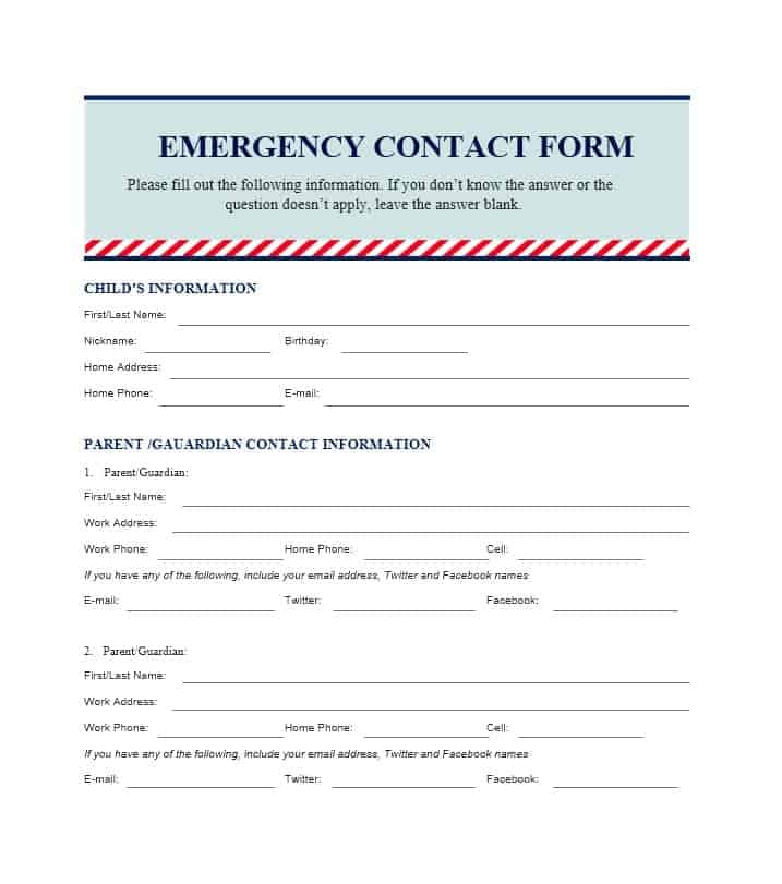 54 free emergency contact forms employee student for Emergency contact form template for child