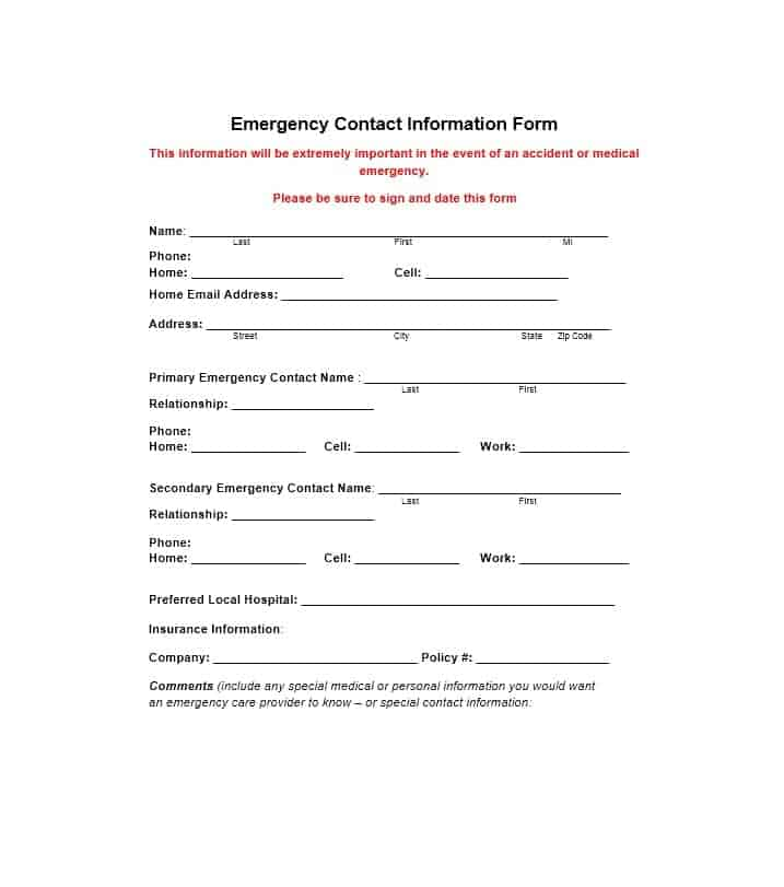 Emergency Contact Form 03