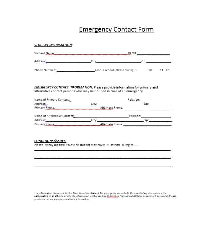 54 Free Emergency Contact Forms [Employee / Student] Medical Student Emergency Contact Form Template on case report form template, in case of emergency form template, medical emergency plan template, emergency medical history form template, medical emergency id card template, emergency medical treatment form template, employee emergency contact list template, school emergency form template, medical information template,