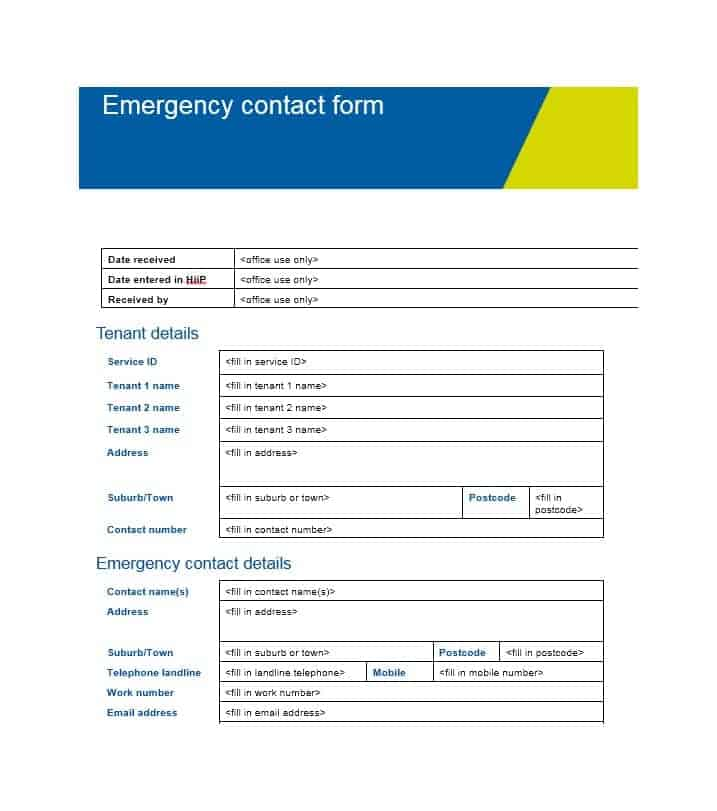 54 Free Emergency Contact Forms Employee Student – Emergency Contact Forms
